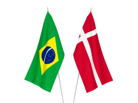 National fabric flags of Denmark and Brazil isolated on white background. 3d rendering illustration.