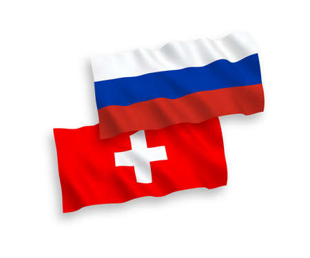 National vector fabric wave flags of Switzerland and Russia isolated on white background. 1 to 2 proportion.