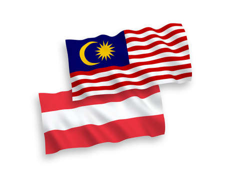 National vector fabric wave flags of Austria and Malaysia isolated on white background. 1 to 2 proportion.  イラスト・ベクター素材