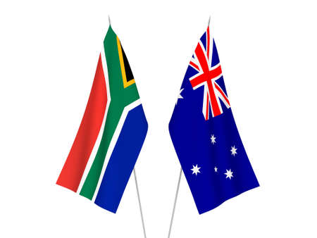 National fabric flags of Australia and Republic of South Africa isolated on white background. 3d rendering illustration. Banco de Imagens