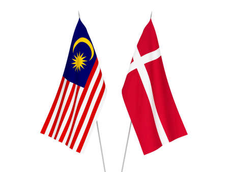 National fabric flags of Denmark and Malaysia isolated on white background. 3d rendering illustration.