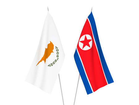 National fabric flags of North Korea and Cyprus isolated on white background. 3d rendering illustration.