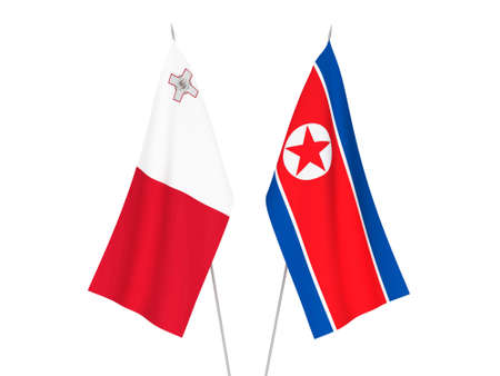 National fabric flags of North Korea and Malta isolated on white background. 3d rendering illustration. Banco de Imagens