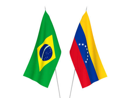 National fabric flags of Venezuela and Brazil isolated on white background. 3d rendering illustration.