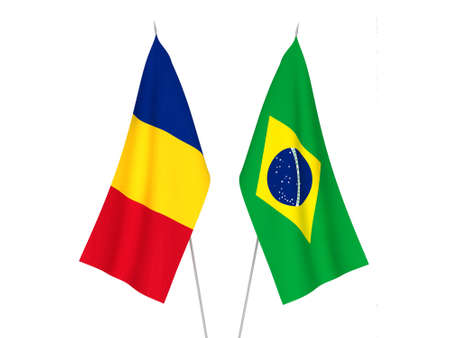 National fabric flags of Brazil and Romania isolated on white background. 3d rendering illustration.
