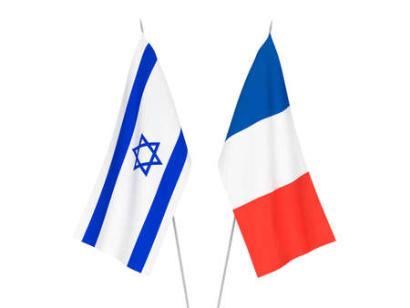 National fabric flags of France and Israel isolated on white background. 3d rendering illustration.