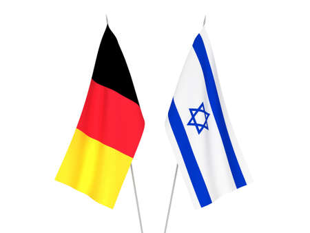 National fabric flags of Belgium and Israel isolated on white background. 3d rendering illustration.