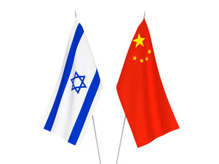 National fabric flags of China and Israel isolated on white background. 3d rendering illustration.