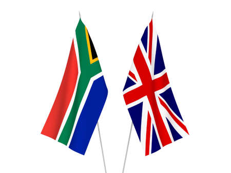 National fabric flags of Great Britain and Republic of South Africa isolated on white background. 3d rendering illustration.