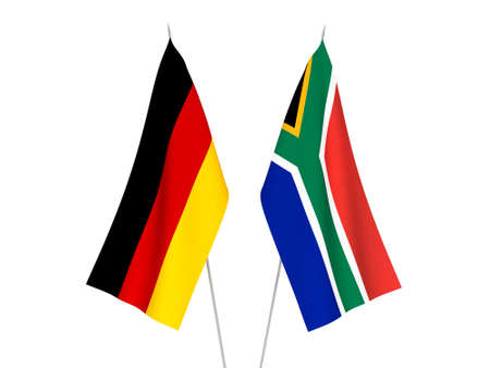 National fabric flags of Germany and Republic of South Africa isolated on white background. 3d rendering illustration.