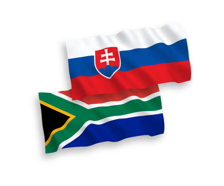 National vector fabric wave flags of Slovakia and Republic of South Africa isolated on white background. 1 to 2 proportion.