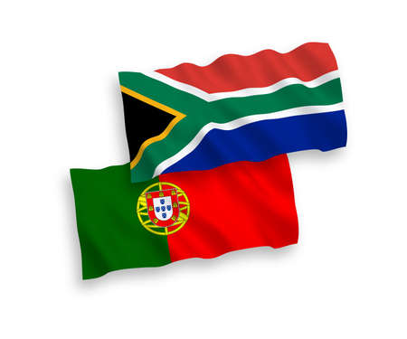National vector fabric wave flags of Portugal and Republic of South Africa isolated on white background. 1 to 2 proportion.