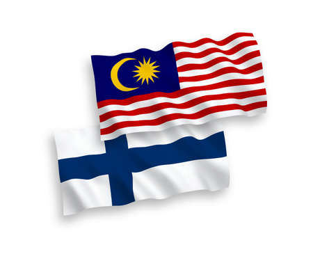 National vector fabric wave flags of Finland and Malaysia isolated on white background. 1 to 2 proportion.