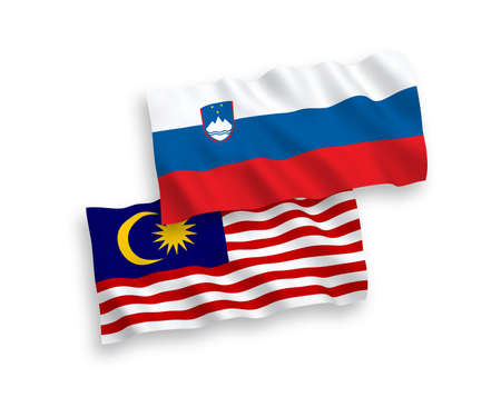 National vector fabric wave flags of Slovenia and Malaysia isolated on white background. 1 to 2 proportion.