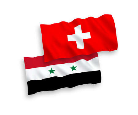 National vector fabric wave flags of Switzerland and Syria isolated on white background. 1 to 2 proportion. Ilustração