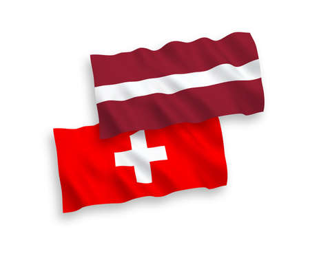 National vector fabric wave flags of Latvia and Switzerland isolated on white background. 1 to 2 proportion.