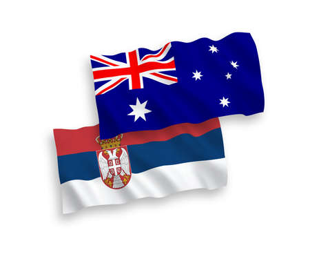 National vector fabric wave flags of Australia and Serbia isolated on white background. 1 to 2 proportion. Illusztráció