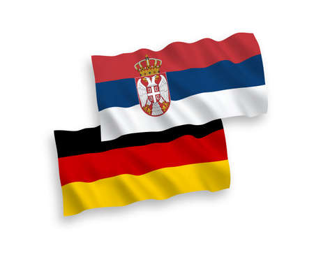 National vector fabric wave flags of Germany and Serbia isolated on white background. 1 to 2 proportion.