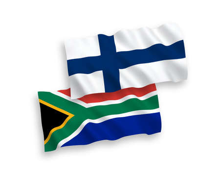 National vector fabric wave flags of Finland and Republic of South Africa isolated on white background. 1 to 2 proportion.