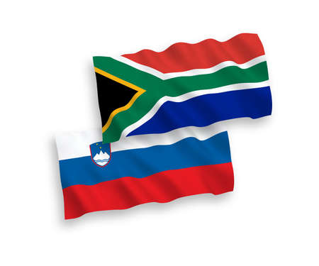 National vector fabric wave flags of Slovenia and Republic of South Africa isolated on white background. 1 to 2 proportion. Ilustração