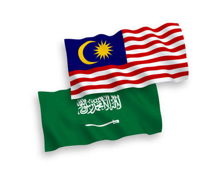National vector fabric wave flags of Saudi Arabia and Malaysia isolated on white background. 1 to 2 proportion. Ilustração