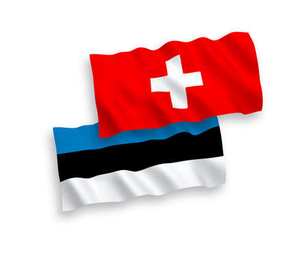National vector fabric wave flags of Estonia and Switzerland isolated on white background. 1 to 2 proportion.