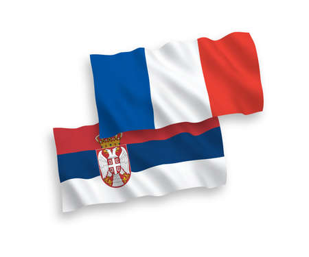 National vector fabric wave flags of France and Serbia isolated on white background. 1 to 2 proportion. Иллюстрация