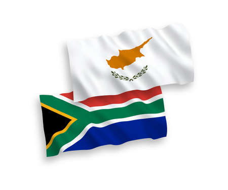 National vector fabric wave flags of Cyprus and Republic of South Africa isolated on white background. 1 to 2 proportion.
