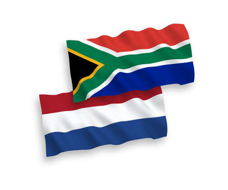 National vector fabric wave flags of Republic of South Africa and Netherlands isolated on white background. 1 to 2 proportion.