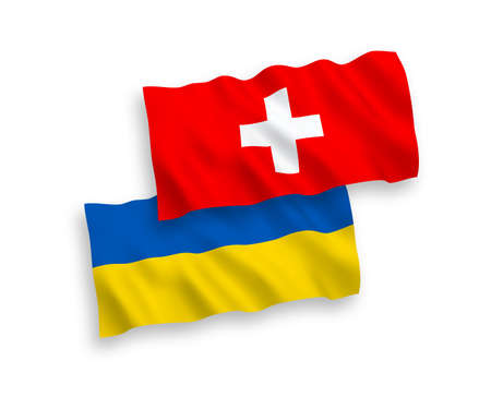 National vector fabric wave flags of Switzerland and Ukraine isolated on white background. 1 to 2 proportion. Ilustração