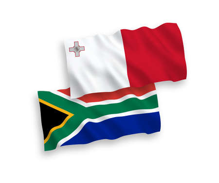 National vector fabric wave flags of Malta and Republic of South Africa isolated on white background. 1 to 2 proportion.