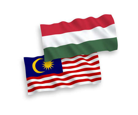 National vector fabric wave flags of Malaysia and Hungary isolated on white background. 1 to 2 proportion.