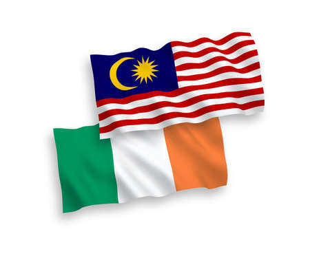 National vector fabric wave flags of Ireland and Malaysia isolated on white background. 1 to 2 proportion. Ilustração