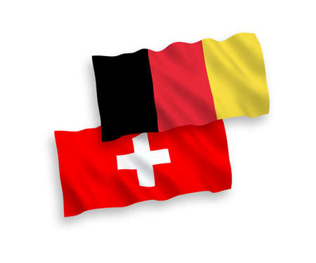National vector fabric wave flags of Switzerland and Belgium isolated on white background. 1 to 2 proportion.
