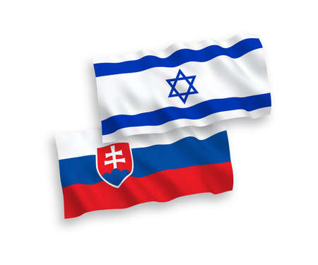 National vector fabric wave flags of Slovakia and Israel isolated on white background. 1 to 2 proportion.