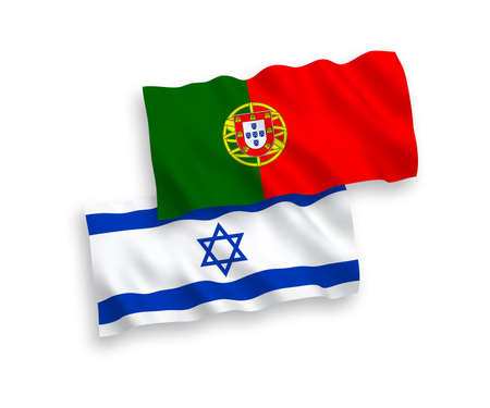 National vector fabric wave flags of Portugal and Israel isolated on white background. 1 to 2 proportion.