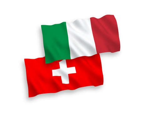 National vector fabric wave flags of Italy and Switzerland isolated on white background. 1 to 2 proportion. Ilustração