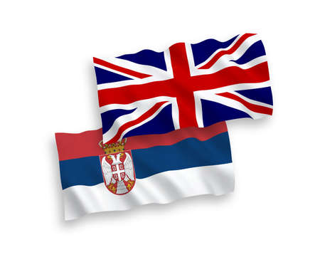 National vector fabric wave flags of Great Britain and Serbia isolated on white background. 1 to 2 proportion. Ilustração