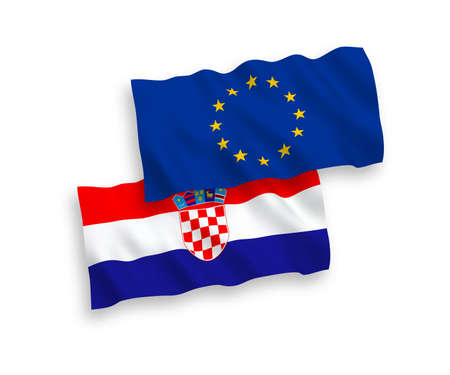 National vector fabric wave flags of European Union and Croatia isolated on white background. 1 to 2 proportion.