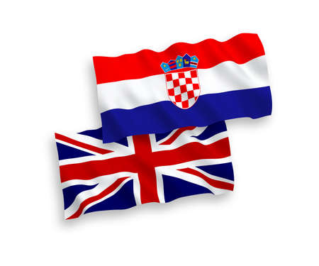 National vector fabric wave flags of Great Britain and Croatia isolated on white background. 1 to 2 proportion.