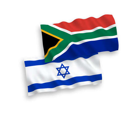 National vector fabric wave flags of Republic of South Africa and Israel isolated on white background. 1 to 2 proportion.