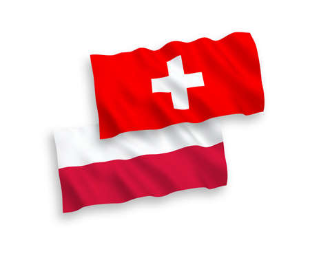 National vector fabric wave flags of Switzerland and Poland isolated on white background. 1 to 2 proportion.
