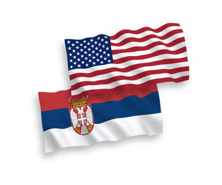 National vector fabric wave flags of Serbia and USA isolated on white background. 1 to 2 proportion.