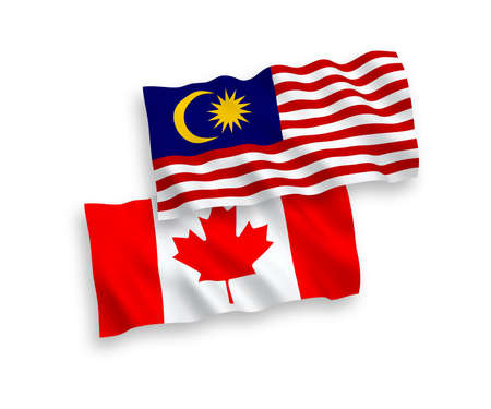 National vector fabric wave flags of Canada and Malaysia isolated on white background. 1 to 2 proportion. Ilustração