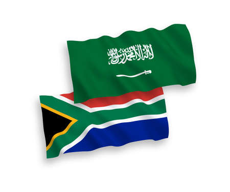National vector fabric wave flags of Saudi Arabia and Republic of South Africa isolated on white background. 1 to 2 proportion. Ilustração