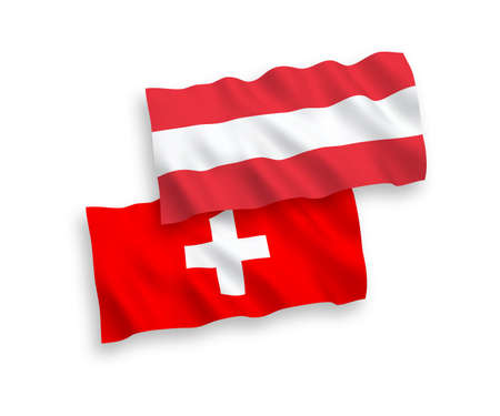 National vector fabric wave flags of Austria and Switzerland isolated on white background. 1 to 2 proportion. Ilustração