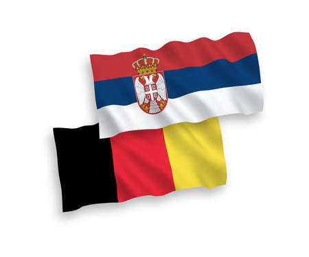 National vector fabric wave flags of Serbia and Belgium isolated on white background. 1 to 2 proportion. Ilustração