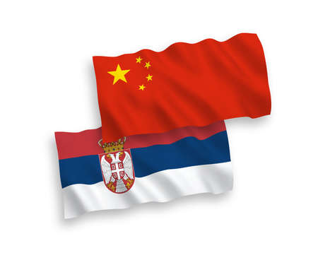National vector fabric wave flags of Serbia and China isolated on white background 1 to 2 proportion.