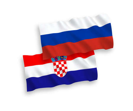 National vector fabric wave flags of Croatia and Russia isolated on white background. 1 to 2 proportion. Ilustração