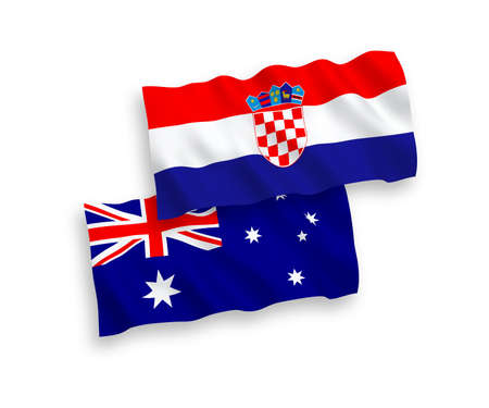 National vector fabric wave flags of Australia and Croatia isolated on white background. 1 to 2 proportion.